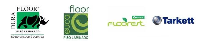 Imagem com logos da Durafloor, Eucafloor, Floorest e Tarkett