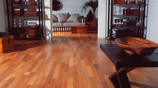 Sala com piso laminado Eucafloor